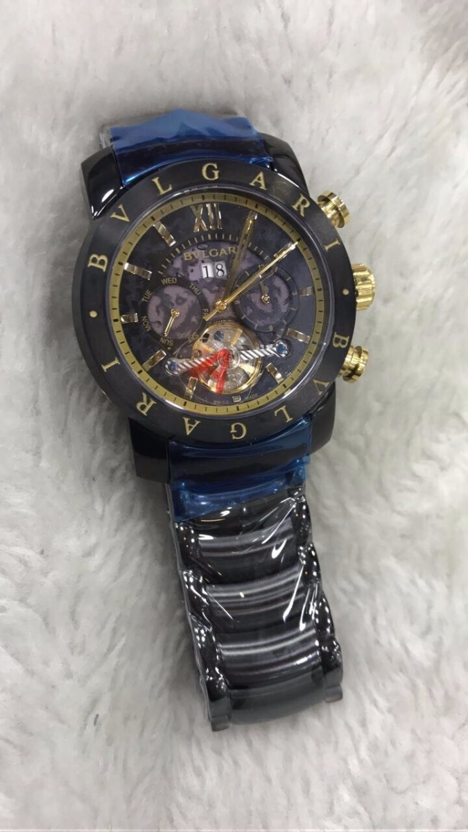 5b8b722bbf7 Relógio Bvlgari Aço Yakusa Preto E Dourado + Brinde - R  499