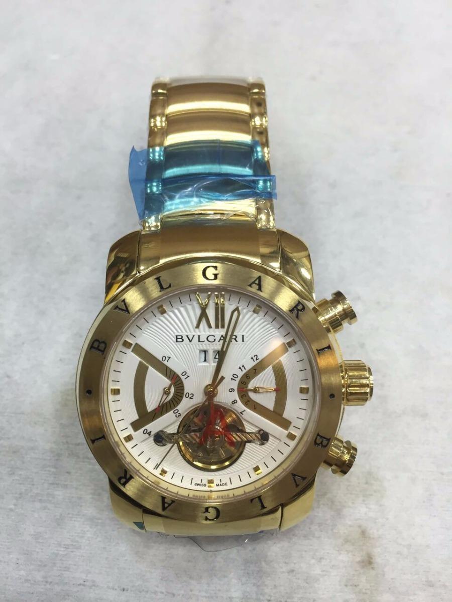 d81e6eef502 Relógio Bvlgari Automático Aço Dourado Fundo Branco + Brinde - R  499