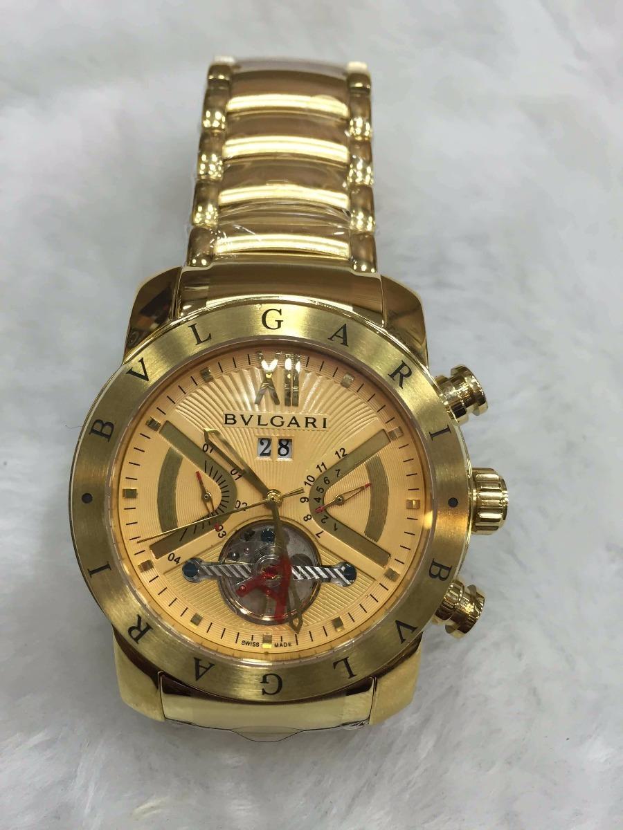 0f58bd48ab4 Relógio Bvlgari Automático Aço Dourado Fundo Laranja +brinde - R  499