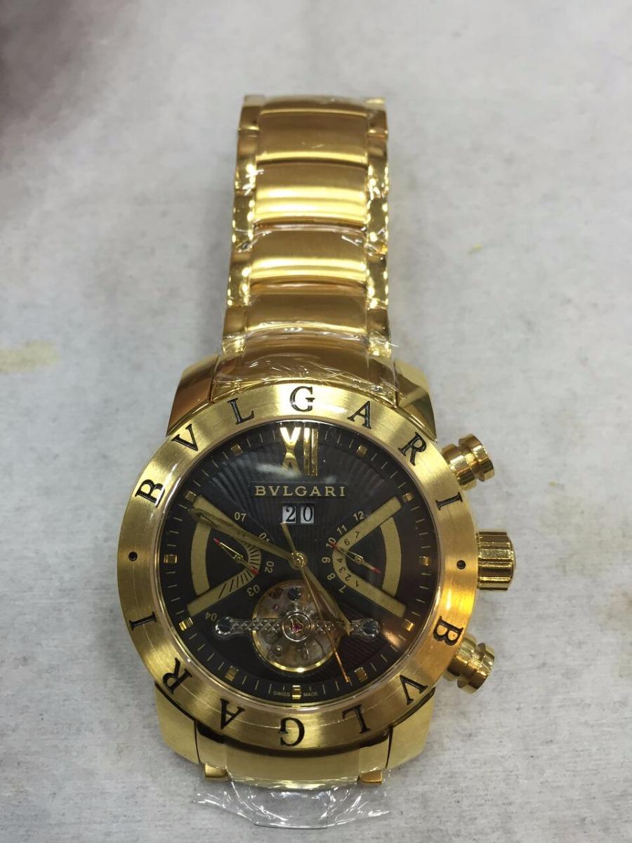 2e982f2e48d Relógio Bvlgari Automático Aço Dourado Fundo Preto + Brinde - R  499 ...