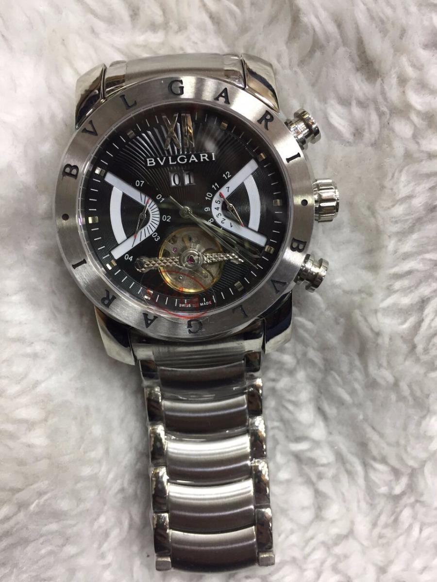 b471940b345 Relógio Bvlgari Automático Aço Fundo Preto + Brinde - R  499