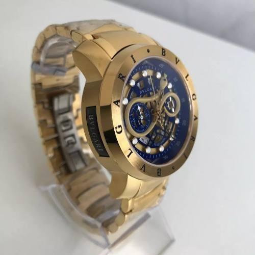 745103788c8 Relogio Bvlgari Cobra Dourado Fundo Azul! Iron Man - R  292
