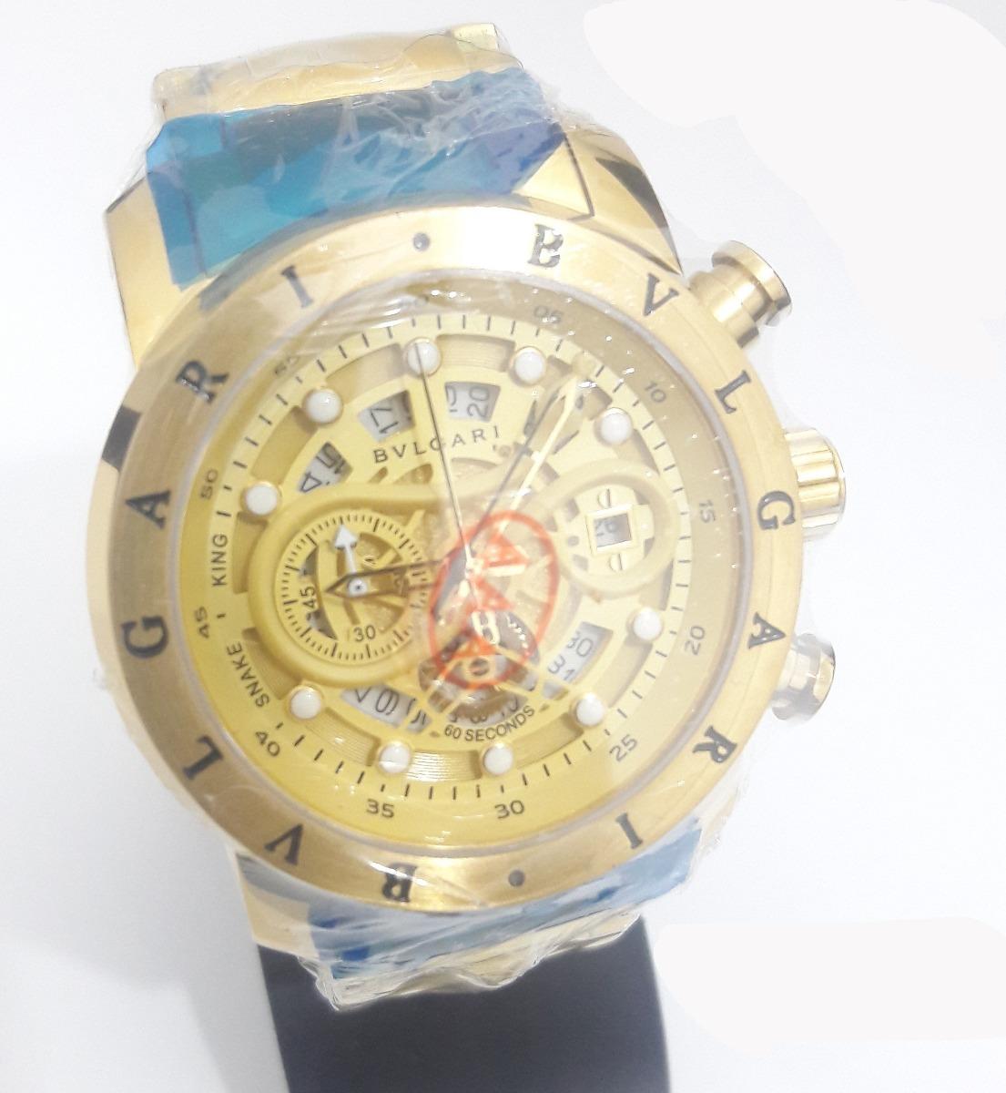 8c0b5da3857 relogio bvlgari cobra ouro dourado fundo azul! iron man. Carregando zoom.