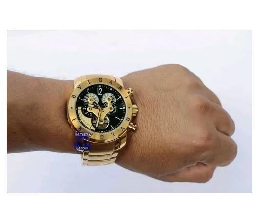 f49ec86377f Relógio Bvlgari Dourado Branco Automático Masculino - R  199