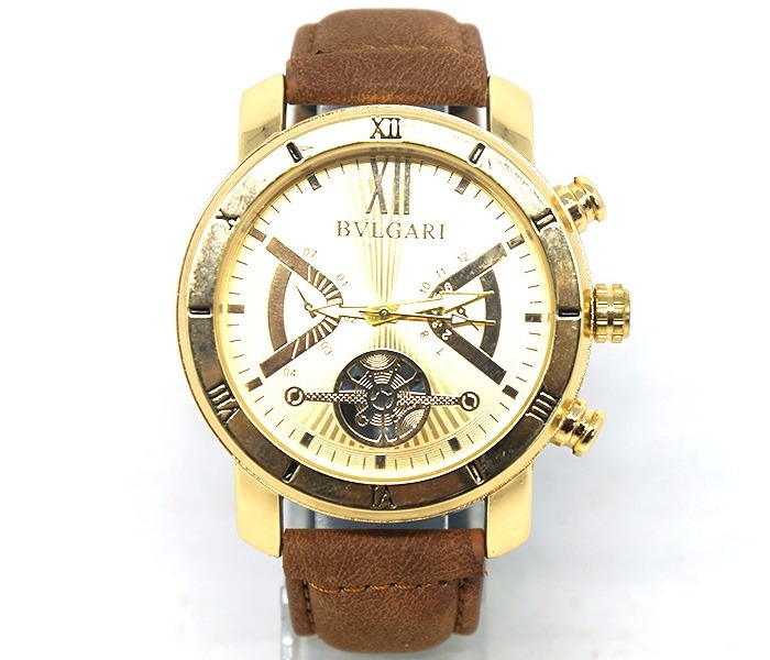 1ae965c1132cc Relógio Bvlgari Dourado Com Pulseira De Couro Promoção - R  119,90 ...