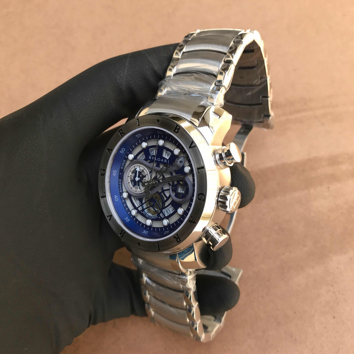 fadb84e3be3 Relógio Bvlgari Iron Man Cobra Prata