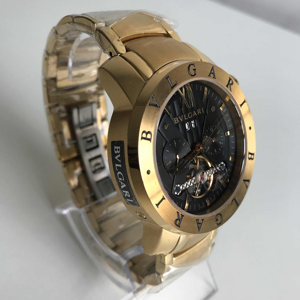 relógio bvlgari iron man dourado automático, fundo preto. Carregando zoom. 7b4ea0abd6