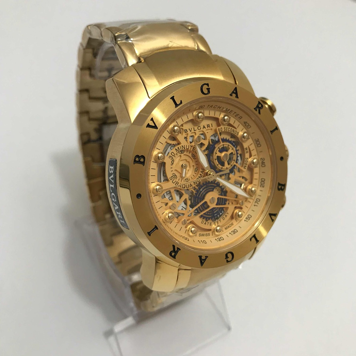 37f9b4032d4 relógio bvlgari iron man dourado esqueleto. Carregando zoom.