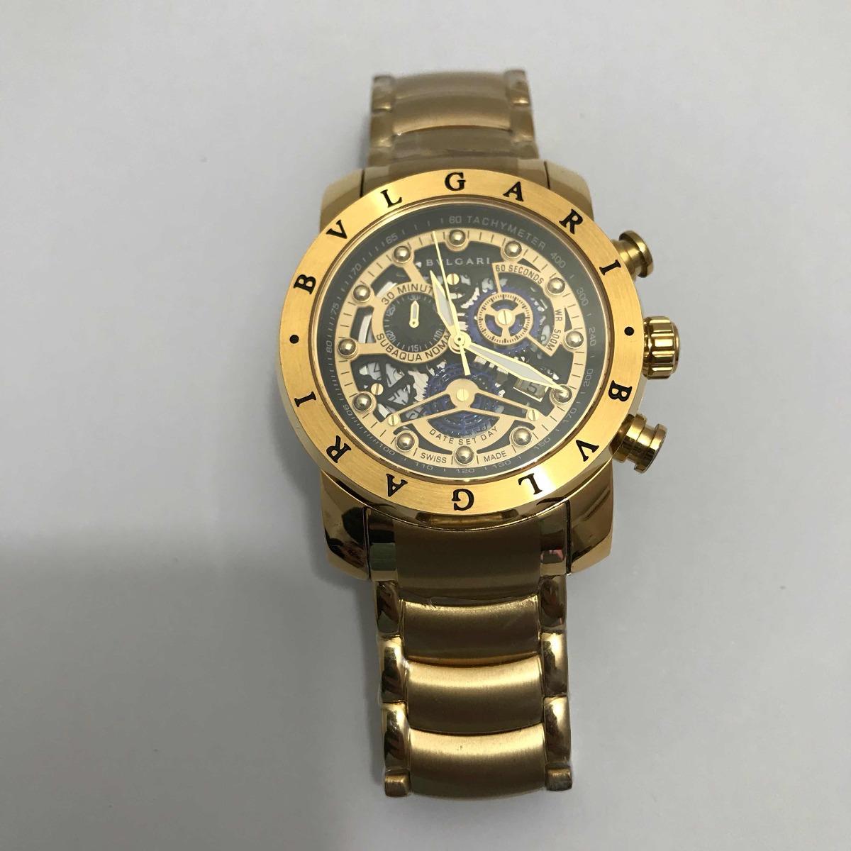 5286dc8bb29 relógio bvlgari iron man esqueleto dourado fundo preto. Carregando zoom.