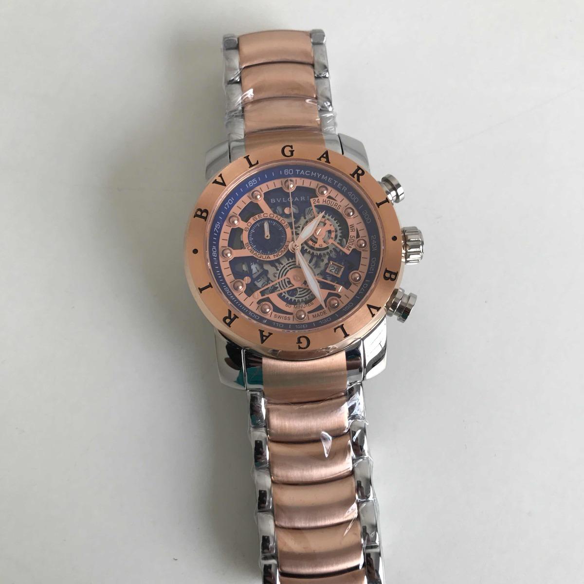 1818f2cf78f relógio bvlgari iron man esqueleto prata rose. Carregando zoom.