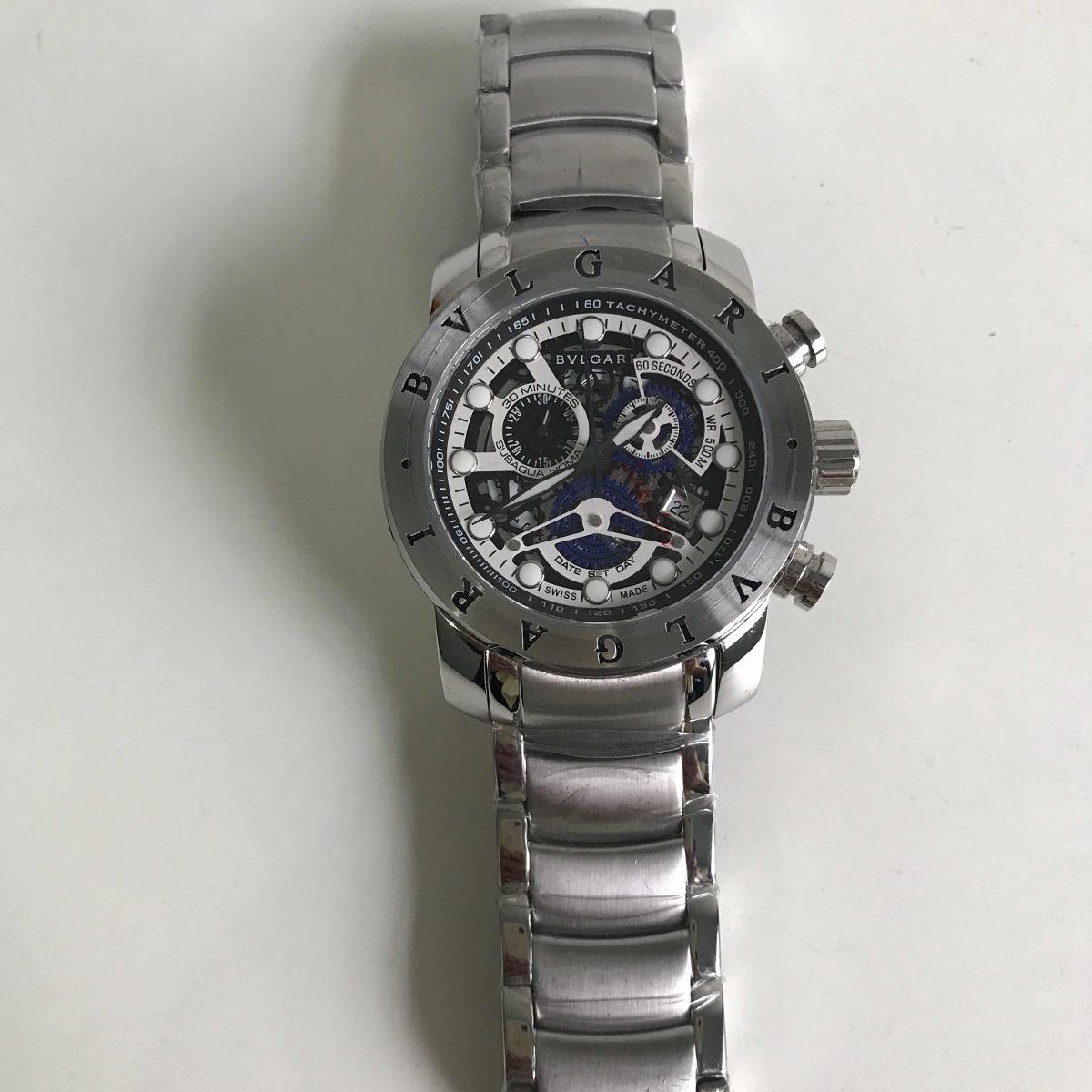 04d429534e5 relógio bvlgari iron man prata esqueleto. Carregando zoom.