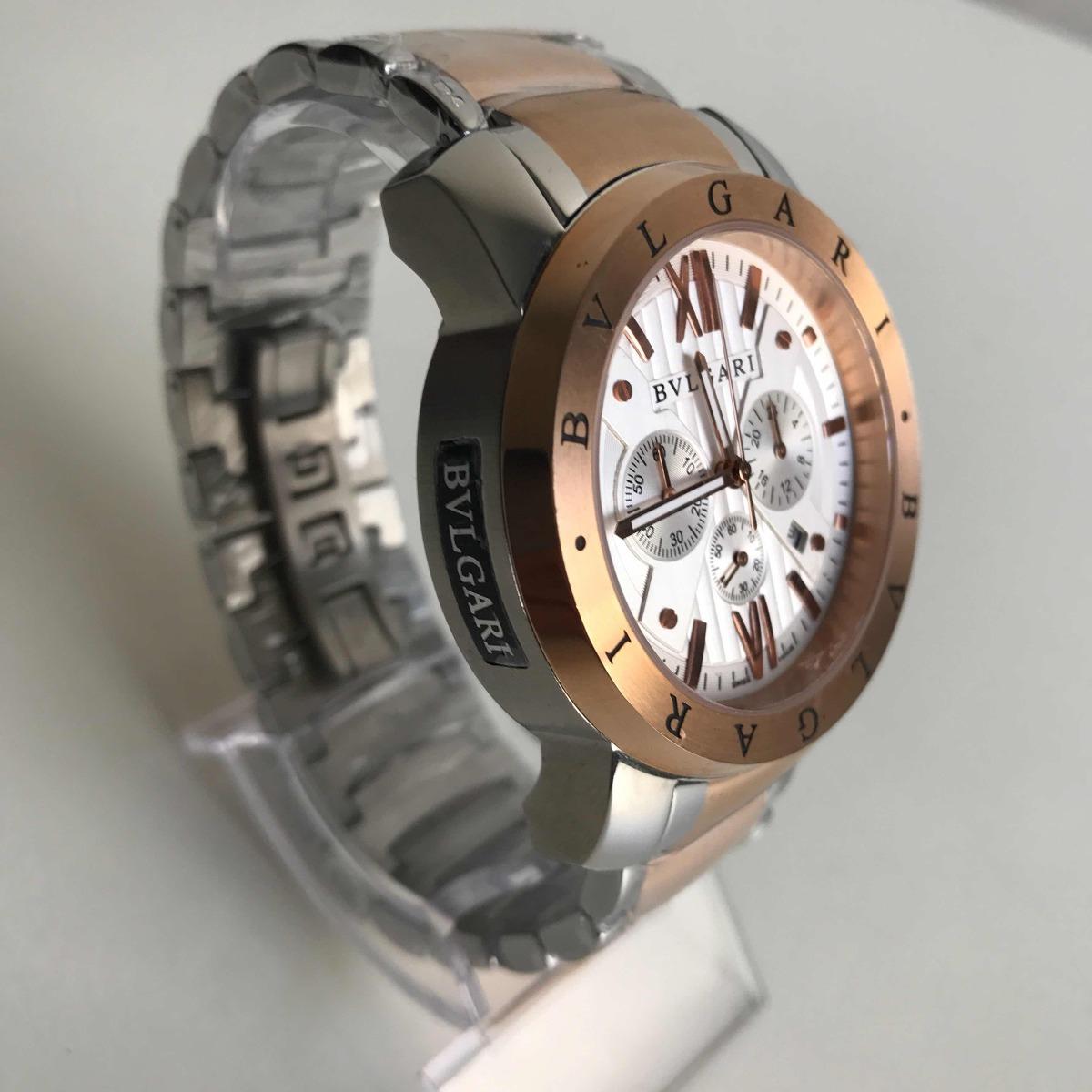 57887a276f2 relógio bvlgari iron man prata rose fundo branco. Carregando zoom.