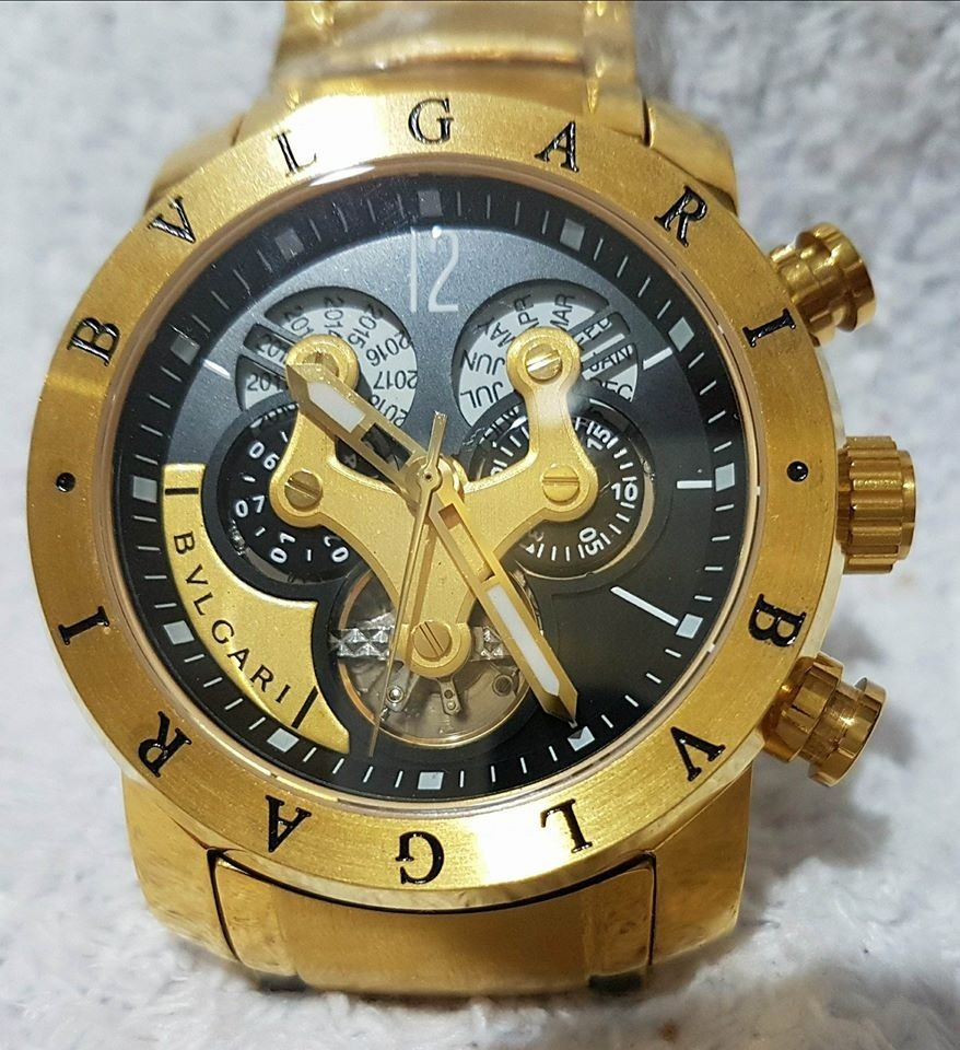 568d10347a5 relógio bvlgari pulseira de aço dourado automatico. Carregando zoom.