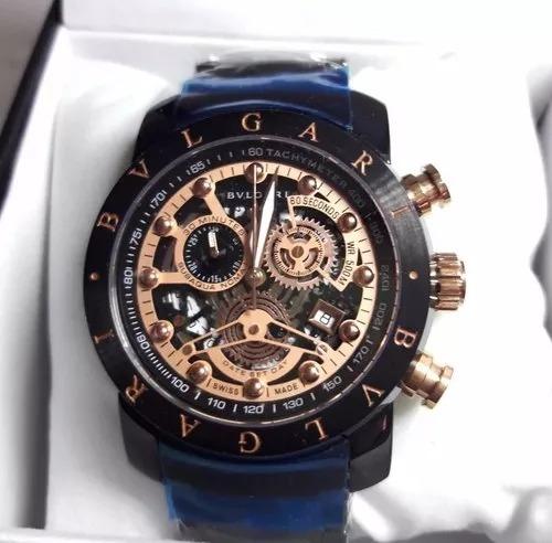 62b8417c50e Relógio Bvlgari Skeleton Bu9965 Iron Man Ouro Golden Luxo - R  250 ...