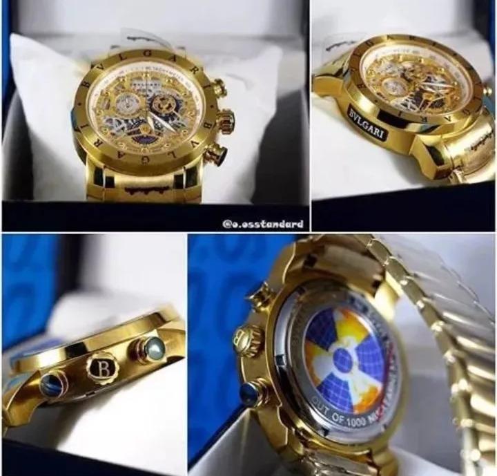 b6da143103a Relógio Bvlgari Subaqua Skeleton Dourado Prata Liquidação!!! - R ...