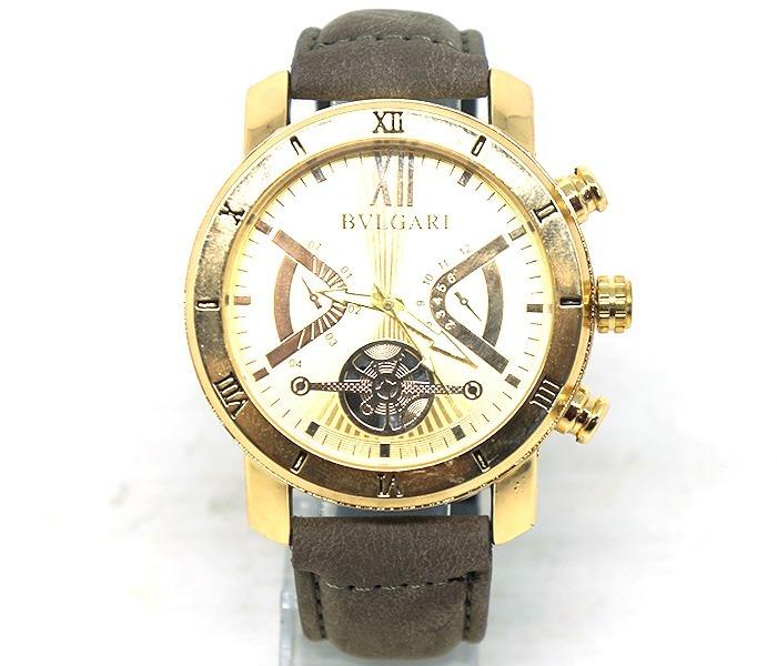 26a8c0e8c8280 Relógio Bvlgari Visor Dourado E Pulseira De Couro Em 2 Cores - R ...