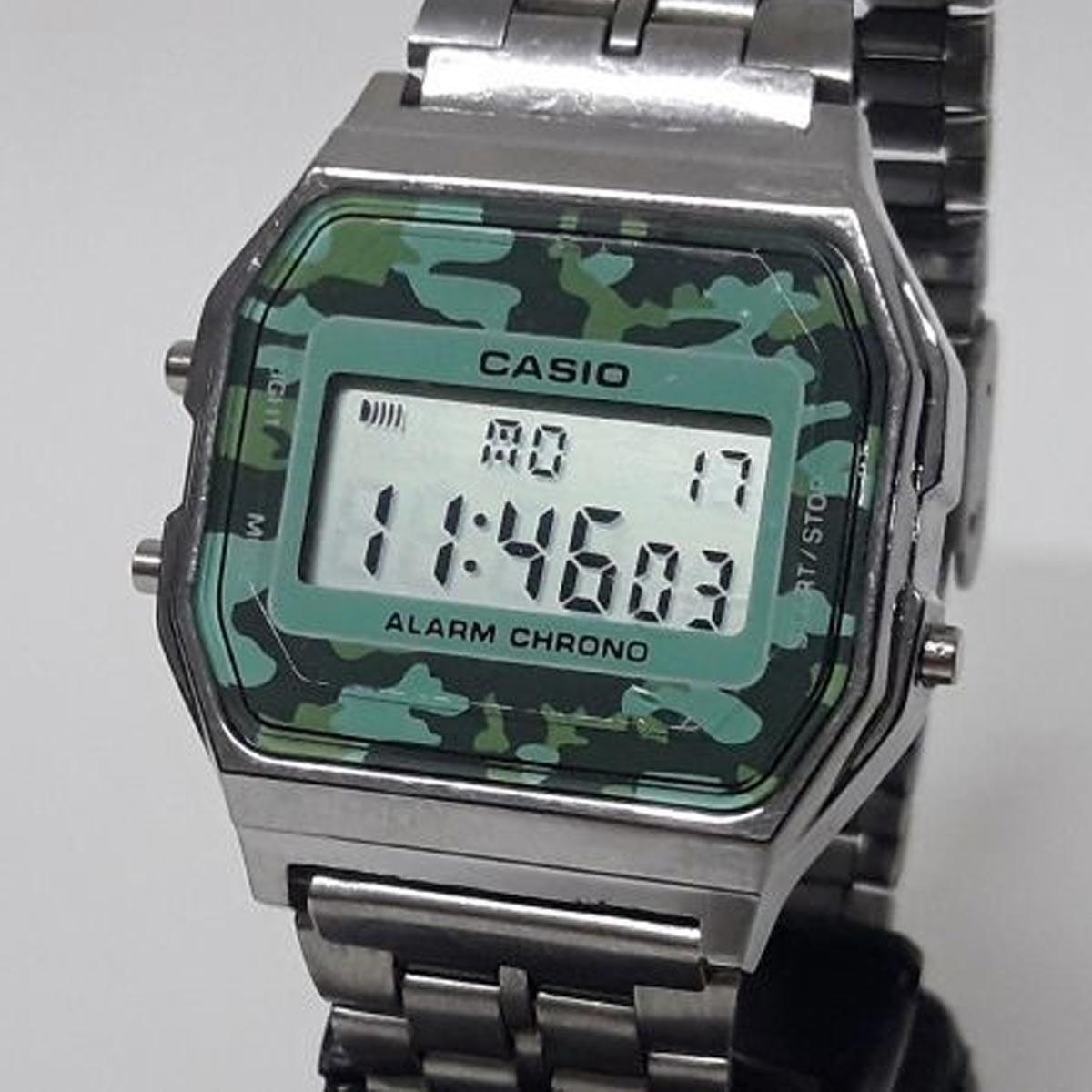 f68880f9c50 relógio casio a159w camuflado prata vintage retrô. Carregando zoom.