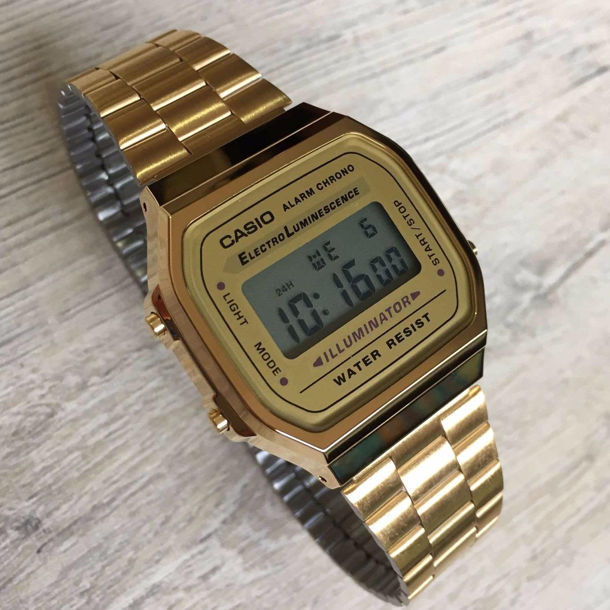 921fcdd73f1 relogio casio a168 unissex retrô digital dourado a168wg-9. Carregando zoom.