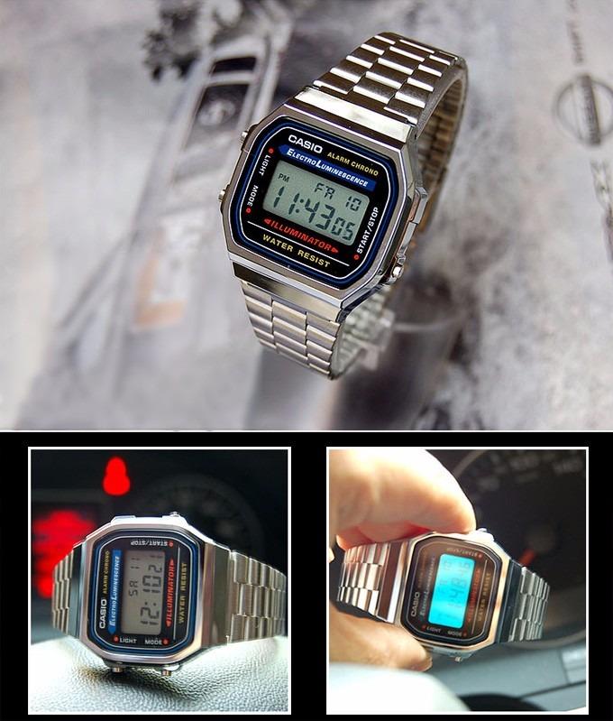 d3137e3c7becf Relógio Casio A168wa1wdf Prata Unisex Retro Vintage Original - R ...