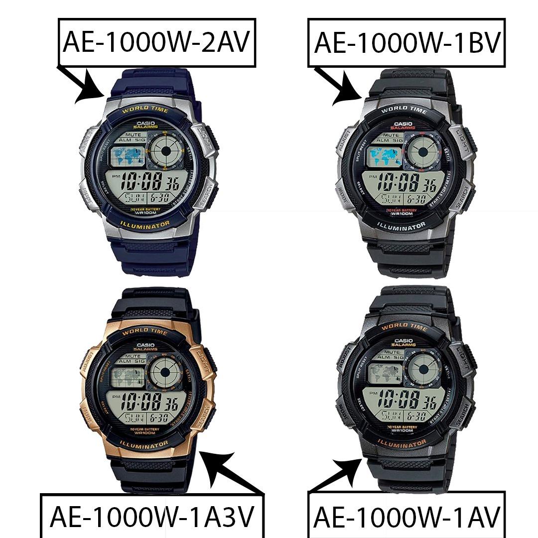374ebd87f Relogio Casio Ae 1000w-1 Borracha Mapa. Cronometro 5 Alarmes - R ...