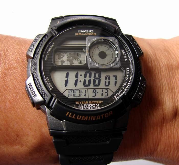 27e7f52ae83 Relogio Casio Ae 1000w-1 Borracha Mapa Preto Crono Alarm - R  136