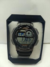 0808db576 Relogio Casio Ae 1000w 1 Borracha Mapa Preto Crono Alarm - Relógios ...
