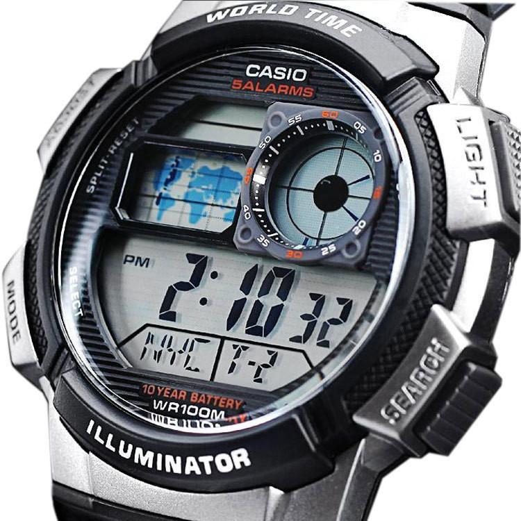 fa4f9a1a3 Relogio Casio Ae 1000w-1b Borracha Mapa Cronometro 5 Alarmes - R$ 129,00 em  Mercado Livre