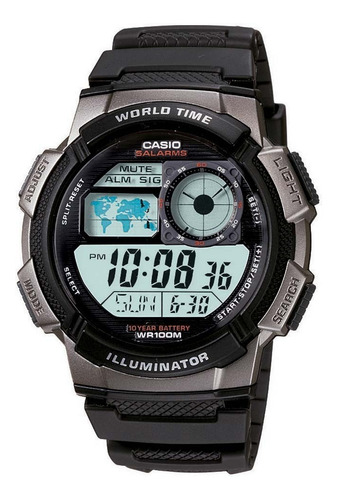 relogio casio ae-1000w-1b h.mundi cron timer 5 alarmes