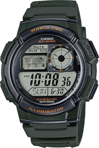 relogio casio ae-1000w 3a verde h.mundi-cron. 5 alarmes