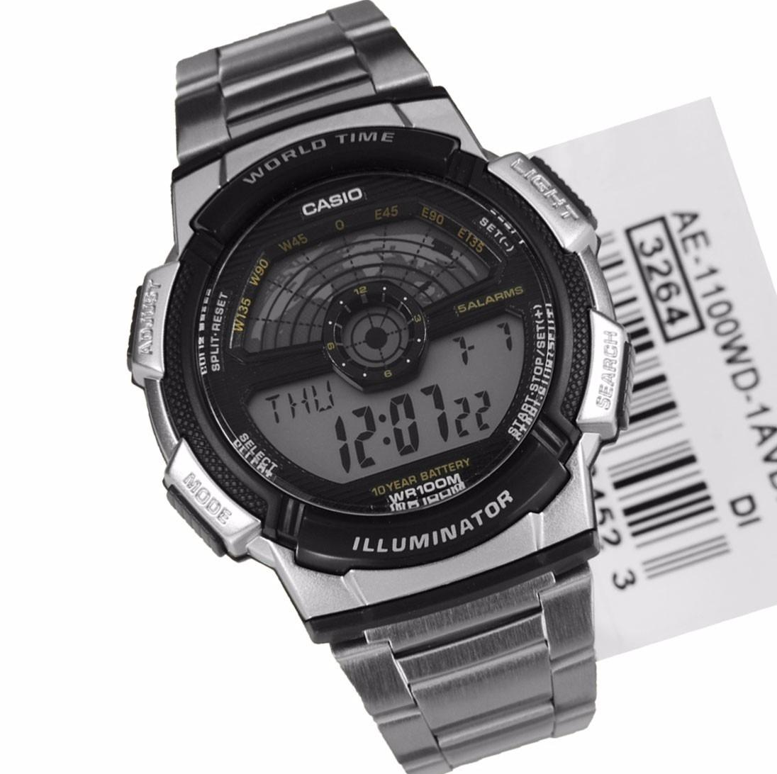 6a4a37026cb Relogio Casio Ae-1100wd Hora Mund Aço Timer 5 Alarmes Ae1000 - R ...