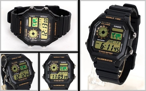 9c179f54486 Relogio Casio Ae-1200 Wh 1b Horario Mundial 5 Alarmes 100m P - R ...
