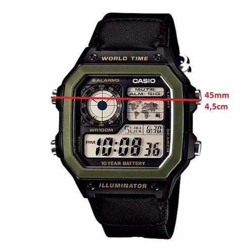 relogio casio ae-1200whb-1 verde quadrado timer cro f gratis