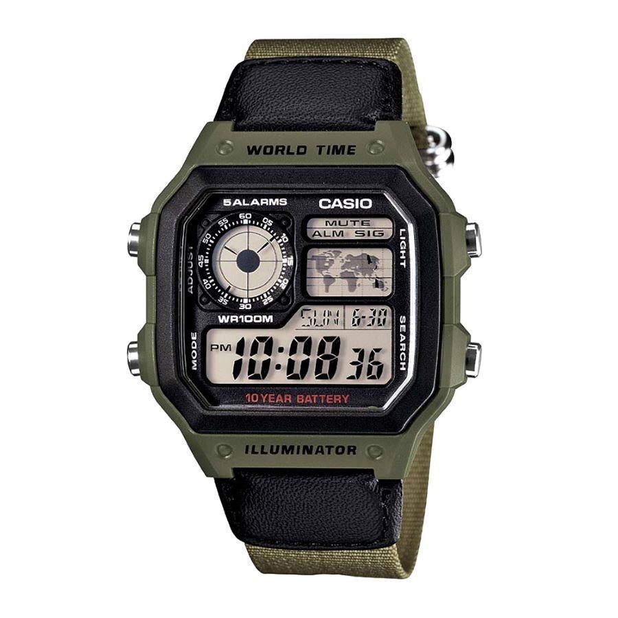 59bc92b8128 relogio casio ae-1200whb-3b verde timer crono alarme. Carregando zoom.
