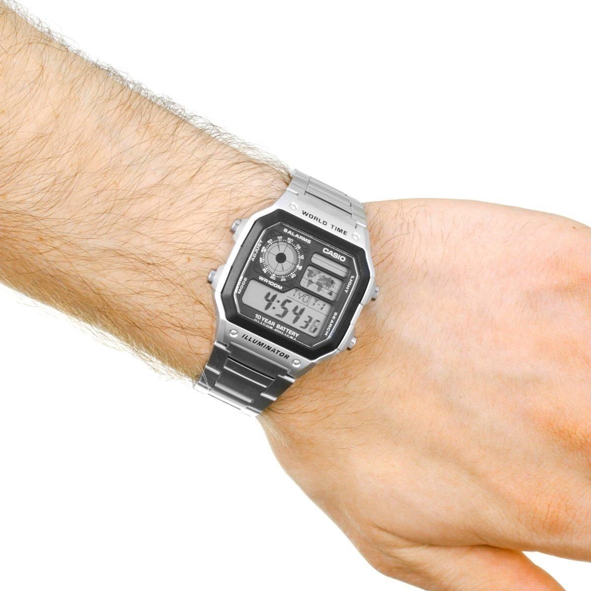 94a271d3b29 relogio casio ae-1200whd aço horario mundial 5 alarmes 100m. Carregando  zoom.