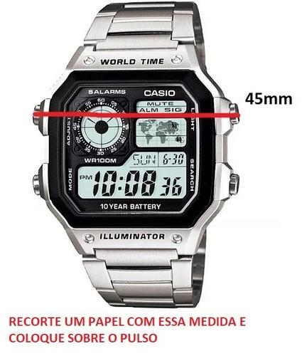 relogio casio ae 1200whd aço quadrado crono 5alarm wr100c/cx