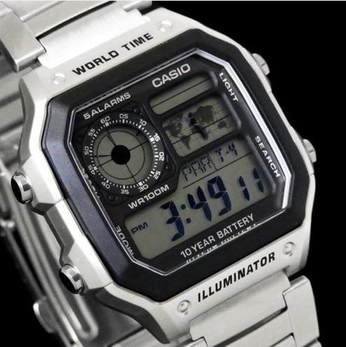 0599a0d416e Relógio Casio Ae-1200whd Mapa Digital 5 Alarmes 31 Fusos Hrs - R ...