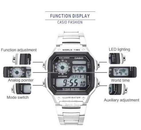 83fdbcf7baa Relógio Casio Ae-1200whd Mapa Mundy 5 Alarmes Cronometro Luz - R ...