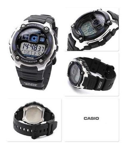 relógio casio ae-2000w-1a horario mundial 5 alarmes wr-200m
