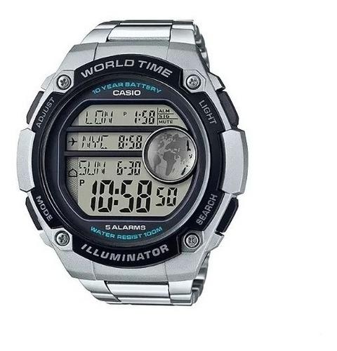relogio casio ae-3000wd-1 original pulseira aço ae-2000