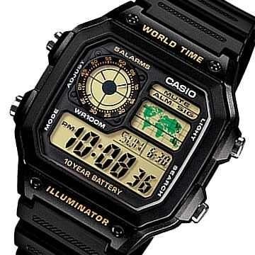 2e977faaa8b Relógio Casio Ae1200wh-1bv Mapa Mundial Luz Led Temporizador - R ...