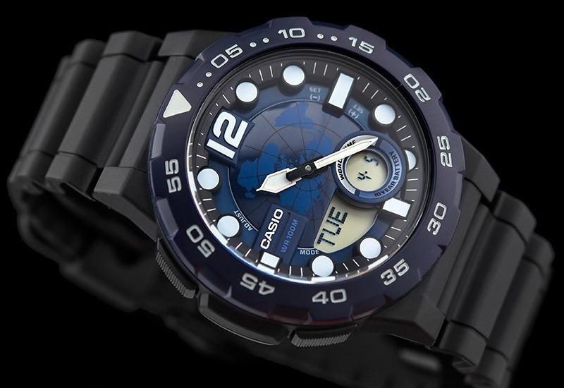 0f2da7f50c2 relógio casio aeq-100w-2avdf azul-marinho preto. Carregando zoom.