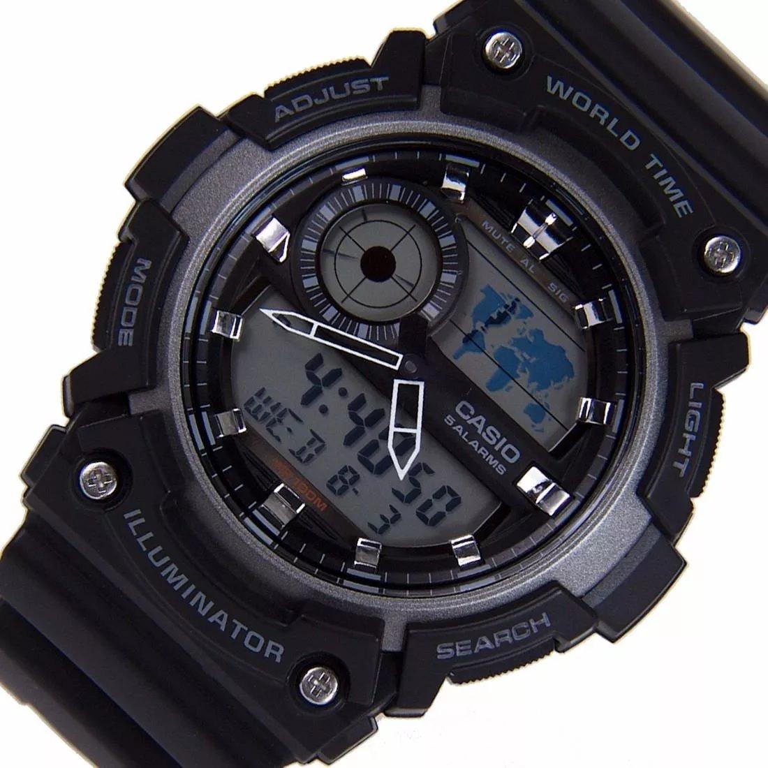 999bcf7bc71 Relogio Casio Aeq-200w-1 5alarm Crono Timer Hora Mundi Wr100 - R ...