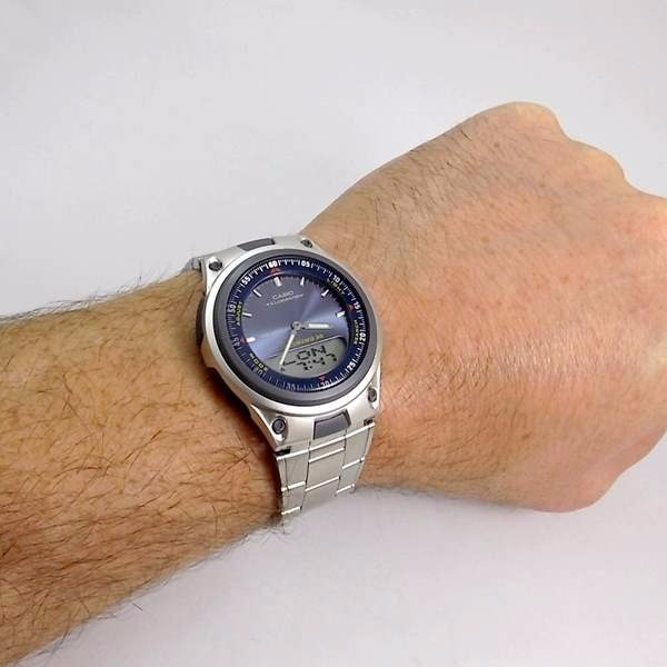 3e2605bdebe Relógio Casio Anadigi Alarmes Azul Telememo Wr50 Aw-80d-2av - R  231 ...