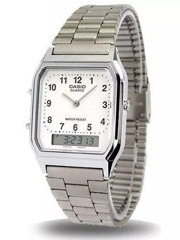 89a63d75316 relógio casio analógico digital social prateado aq-230a-7bmq. Carregando  zoom.