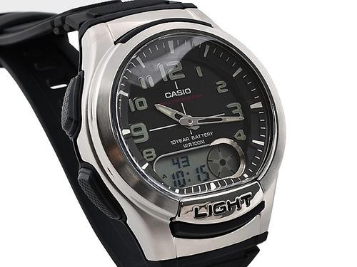 relógio casio aq-180 w digital análogo mundial telememo bo p