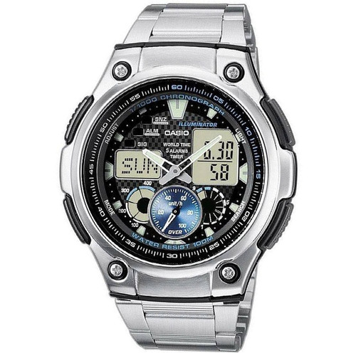 relógio casio aq-190 wd 5 alarmes 48 cidades wr 100m