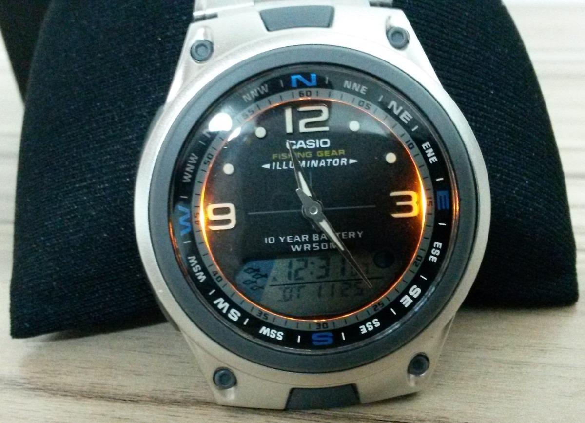 93aa79977d4 Relógio Casio Aw-82d Aço pesca Analóg digital (com Brinde) - R  155 ...