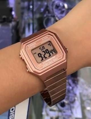 relógio casio  b650wc-5adf rose feminino original