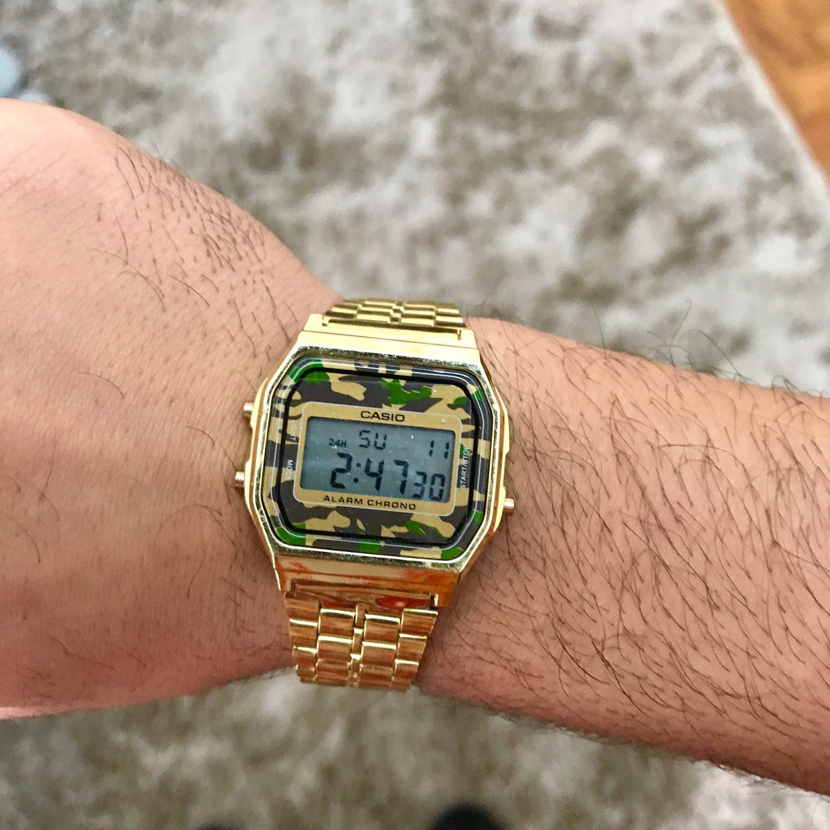 9be412661b8 relógio casio camuflado retro unissex classico dourado prata. Carregando  zoom.