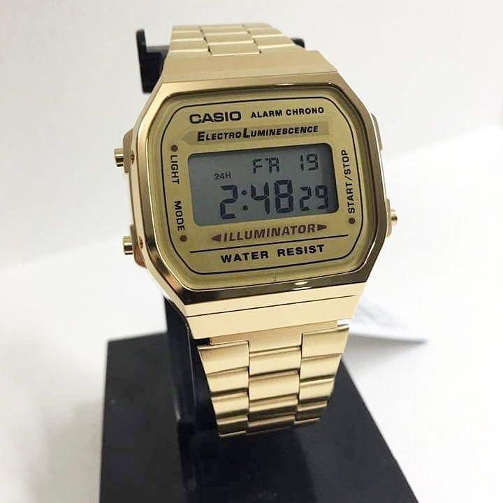 c1881927de2 Relogio Casio Cassio Unisex A168 Retrô Vintage Aço Dourado!! - R  120